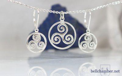 Spiral Triskele Pendant & Earrings Set