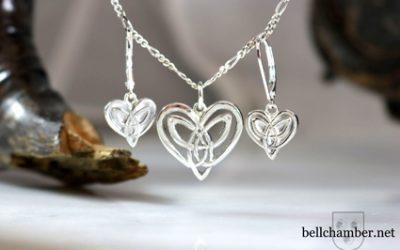 Forever Love Heart Triskele Pendant & Earrings Set