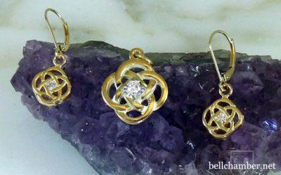 Leanunach Celtic Cross Pendant and Earrings set